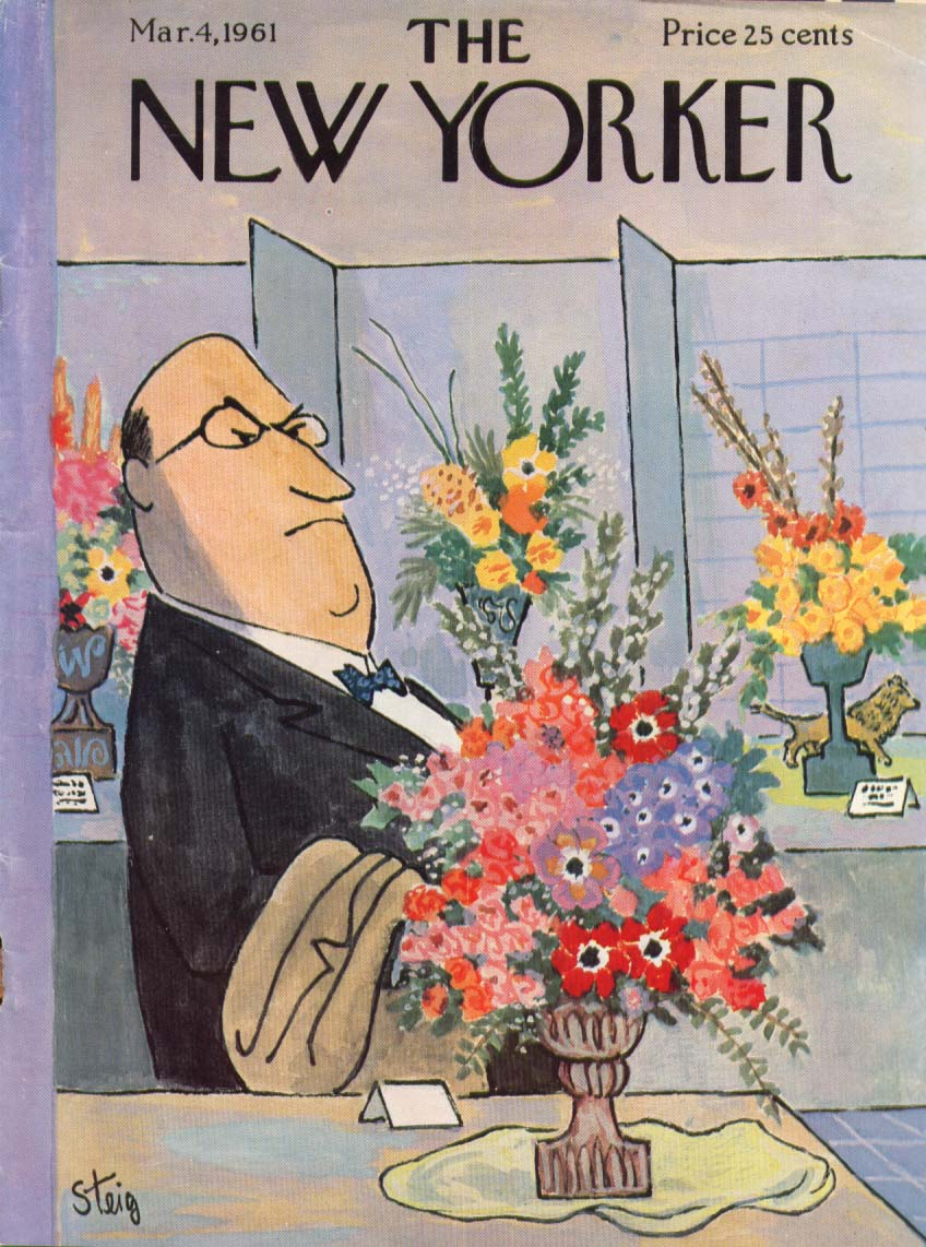 Image for New Yorker cover Steig stern man flower show 3/4 1961