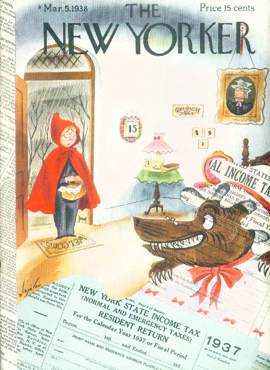 Image for New Yorker cover Alajalov Red Riding Hood man Income Tax wlf awaits 3/5 1938