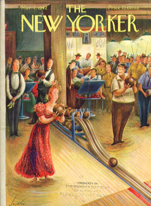 Image for New Yorker cover Alajalov formal lady bowler 3/7 1942