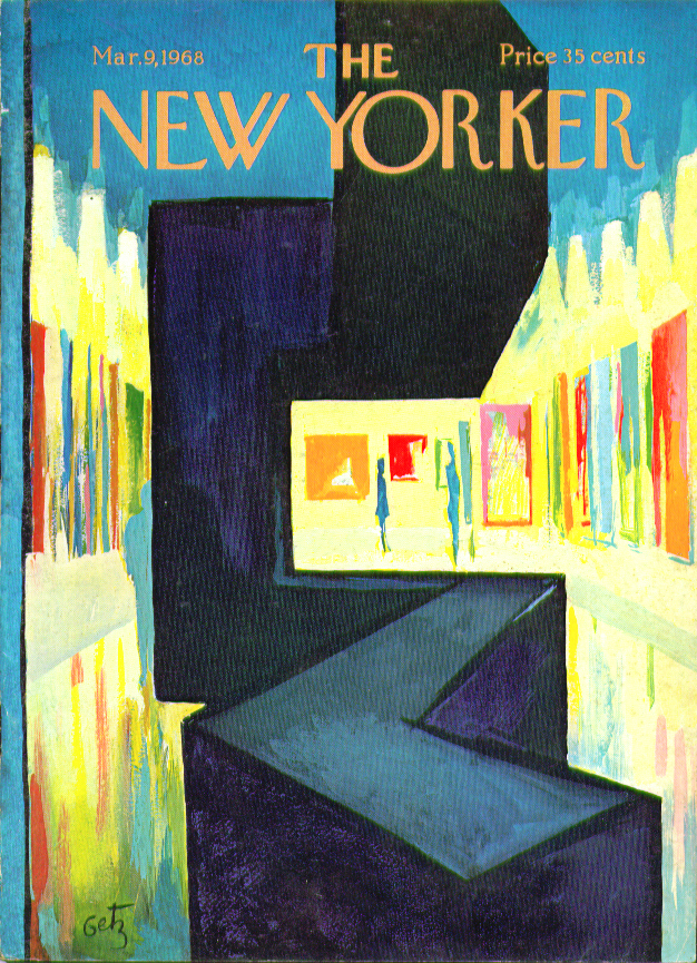 Image for New Yorker cover Getz brightly lit art gallery 3/9 1968