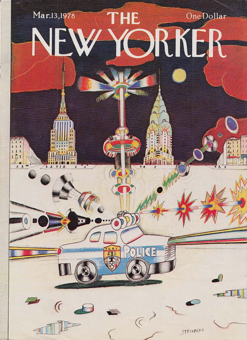 Image for New Yorker cover 3/13 1978 Steinberg NY Police Car blaring lights & siren