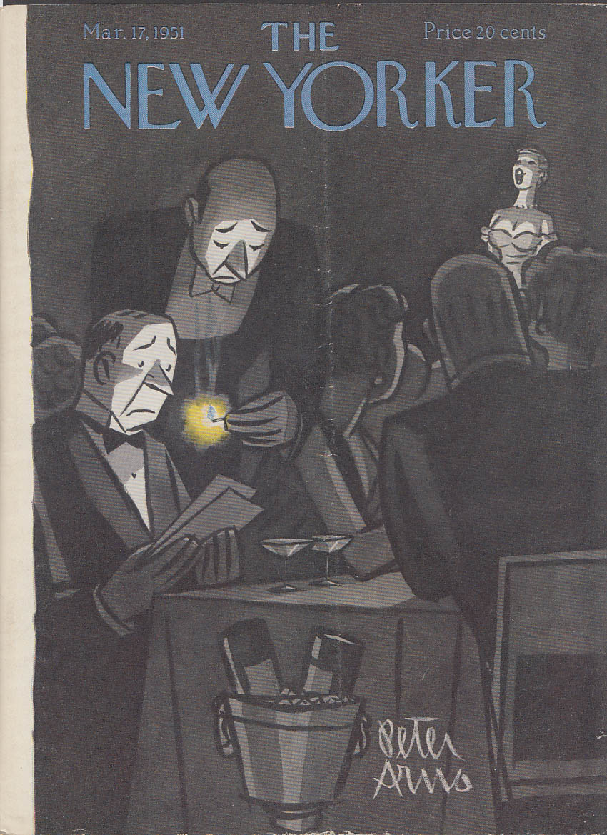 Image for New Yorker cover Arno matchlit menu nightclub 3/17 1951