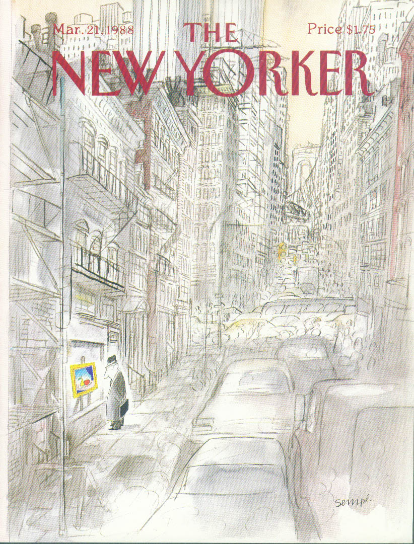Image for New Yorker cover Sempe Gray man cityscape 3/21 1988