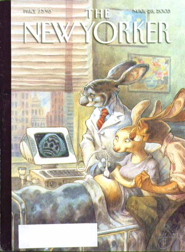 Image for New Yorker cover Peter De Seve bunny couple watch egg ultrasound 3/28 2005