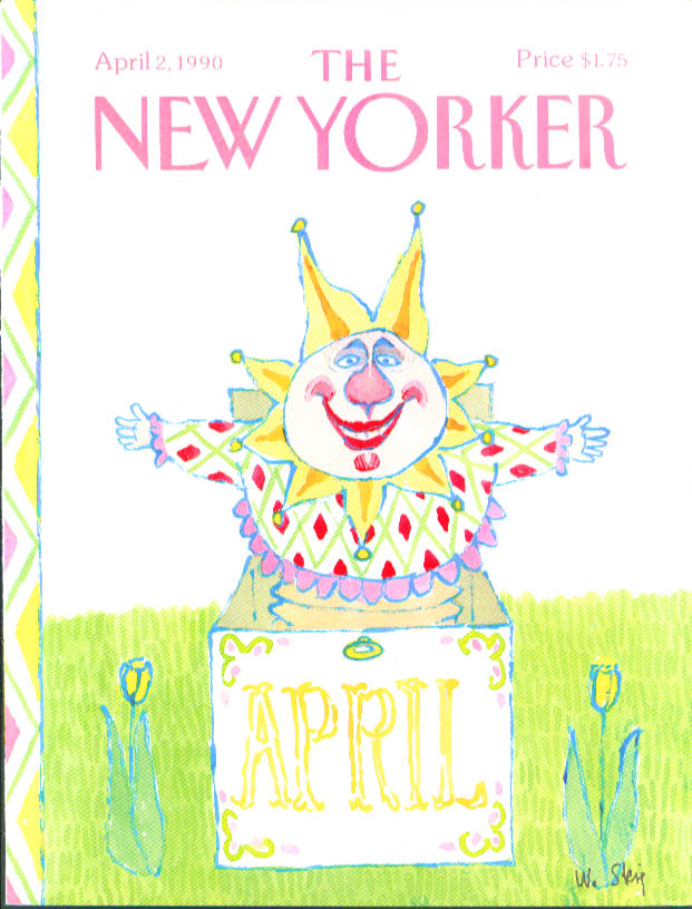 Image for New Yorker cover Steig clown jack-in-the-box 4/2 1990