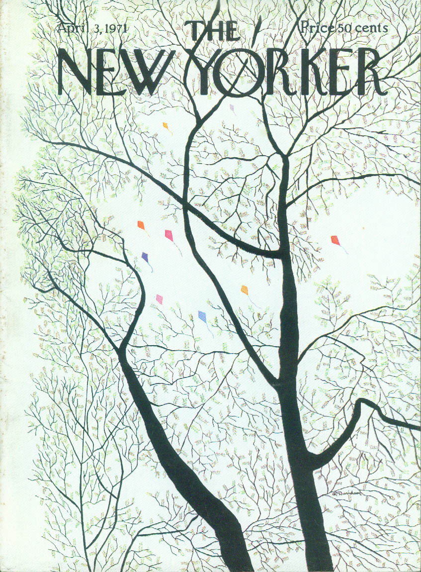 Image for New Yorker cover Davidson kites above trees 4/3 1971