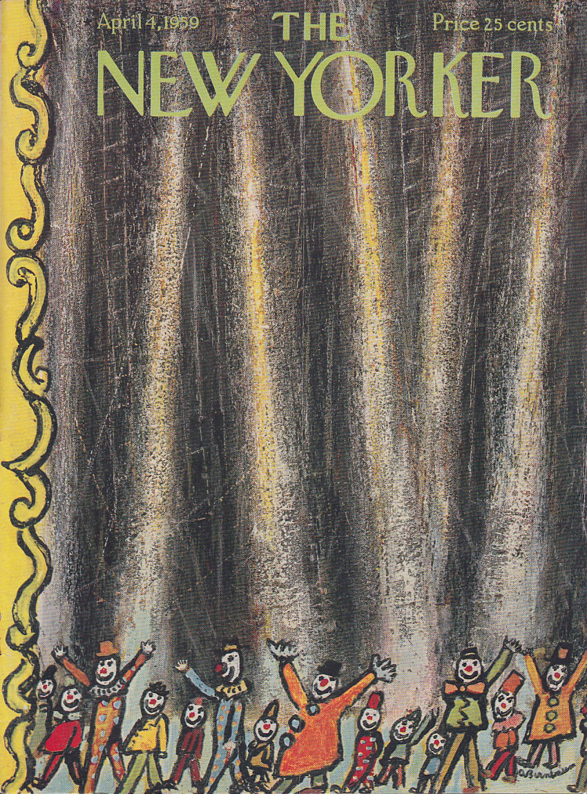 Image for New Yorker cover Birnbaum circus clown parade 4/4 1959