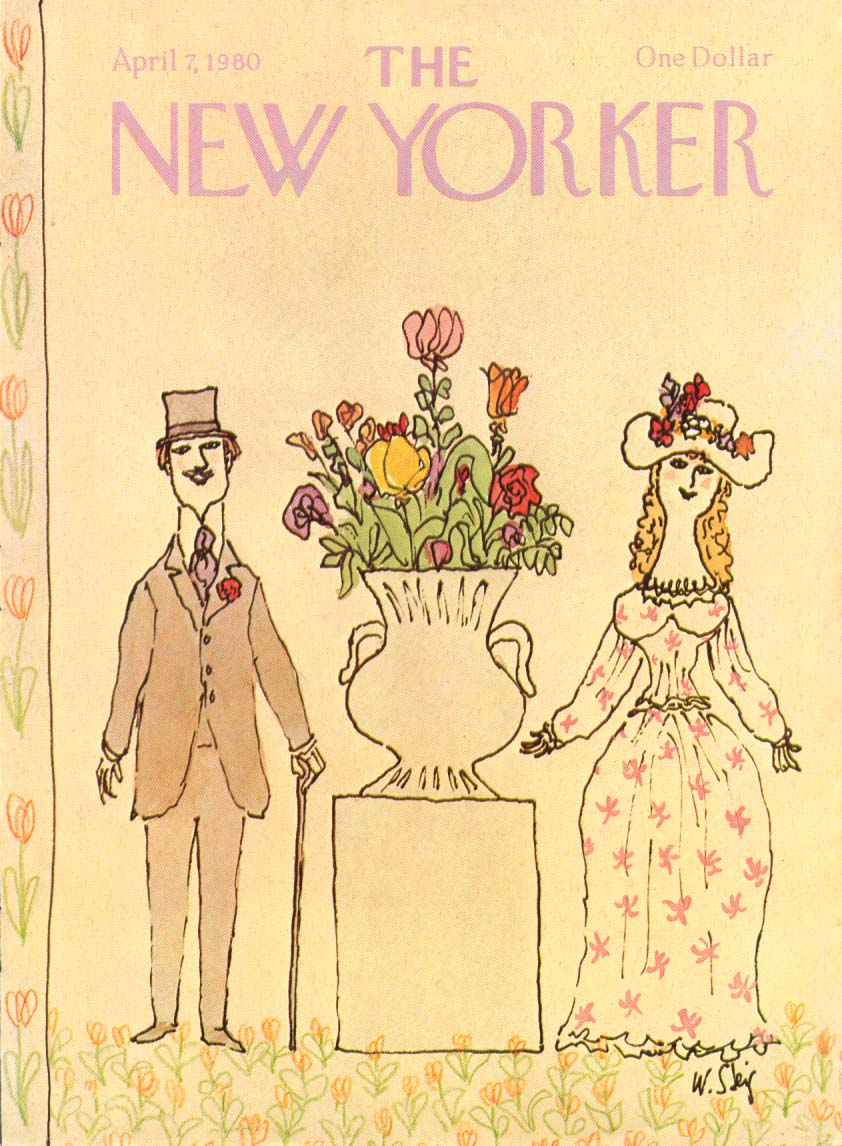 Image for New Yorker cover Steig spring couple with flowers 4/7 1980