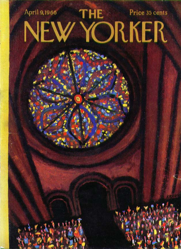 Image for New Yorker cover Kraus stained glass rosette 4/9 1966