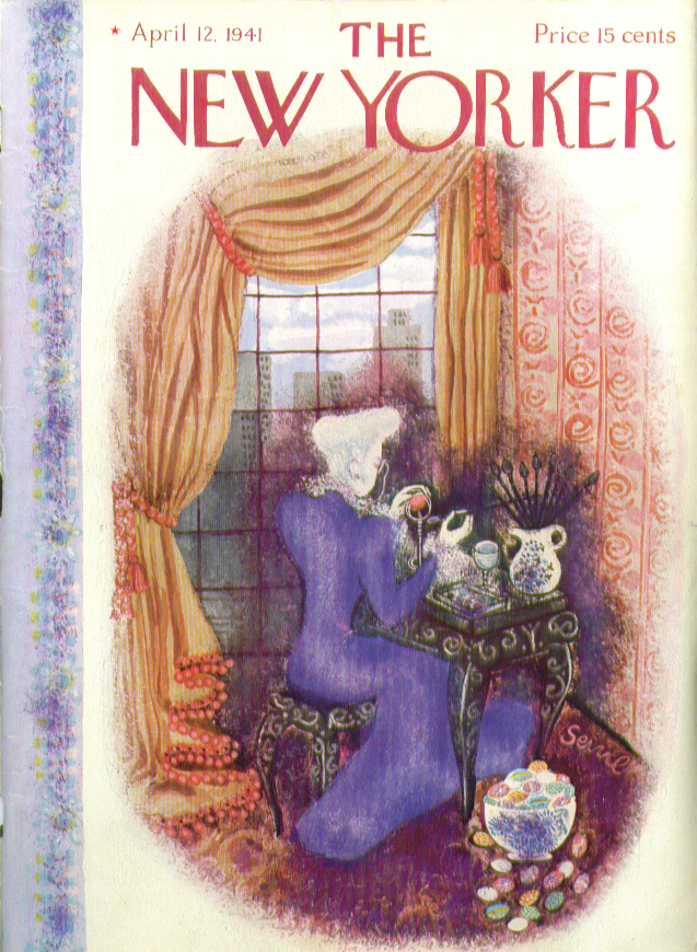 Image for New Yorker cover Bolasni dowager decorates Easter egg 4/12 1941