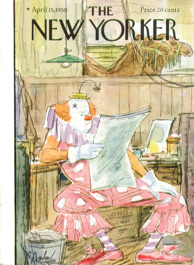 Image for New Yorker cover Barlow clown reads newspaper 4/15 1950
