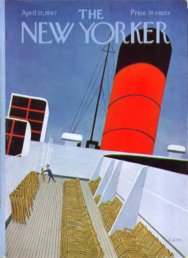 Image for New Yorker cover Martin heaving ocean liner 4/15 1967