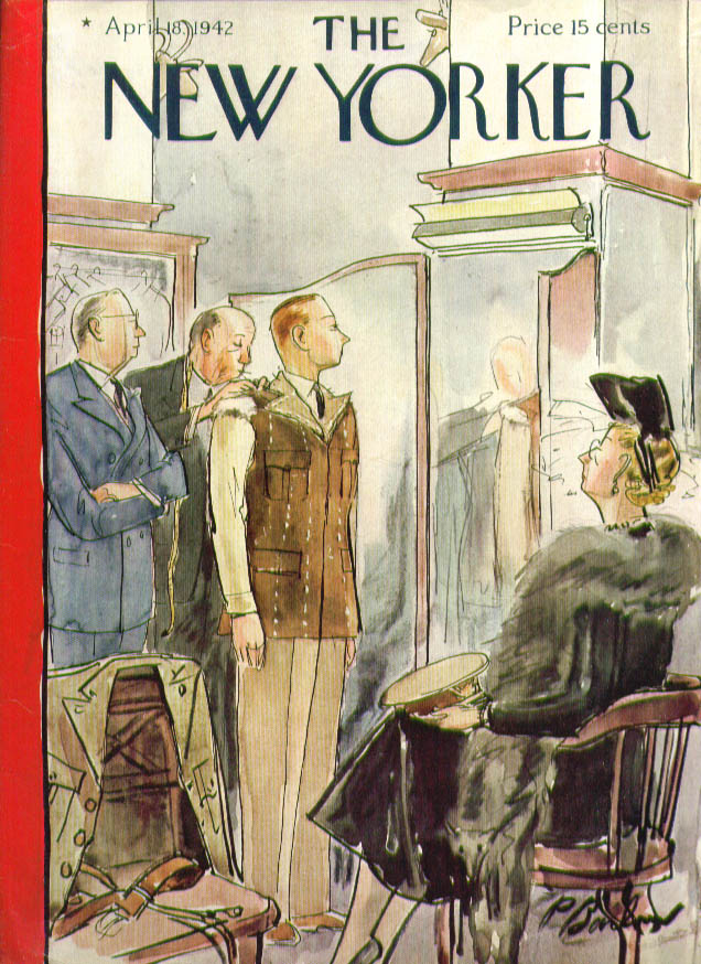 Image for New Yorker cover Barlow uniform fitting 4/18 1942