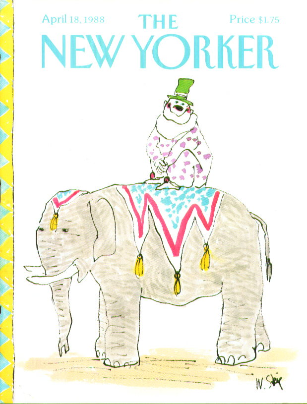 Image for New Yorker cover Steig clown on circus elephant 4/18 1988
