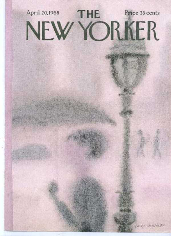 Image for New Yorker cover Allen umbrella up in fog under street lamp 4/20 1968