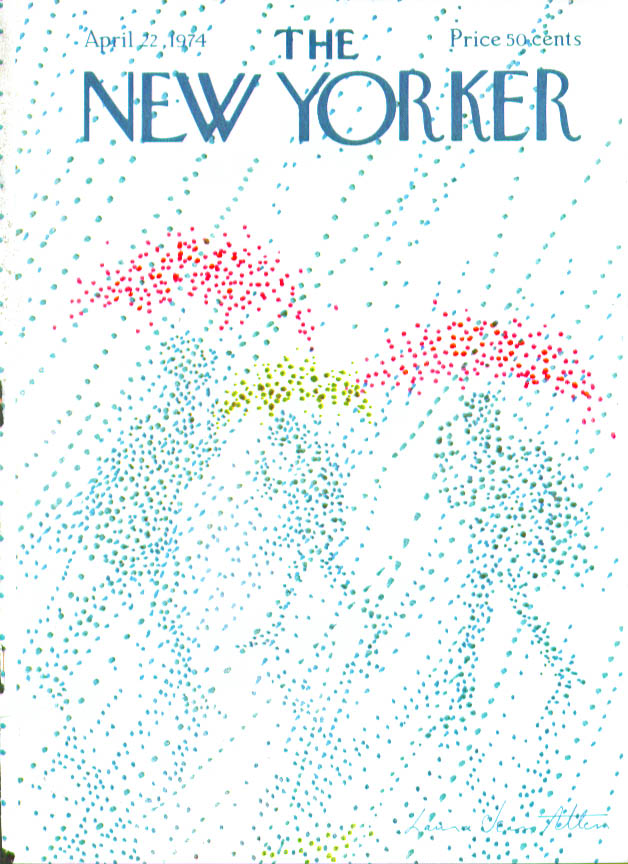 Image for New Yorker cover Allen pointillist umbrella 4/22 1974