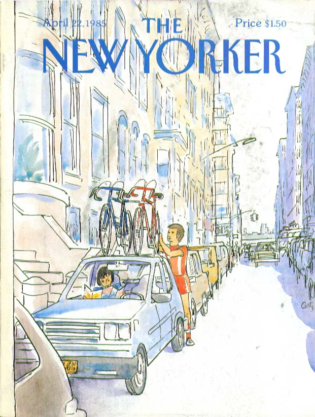Image for New Yorker cover Getz bicycles atop the car 4/22 1985