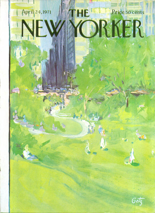 Image for New Yorker cover Getz Central Park green 4/24 1971