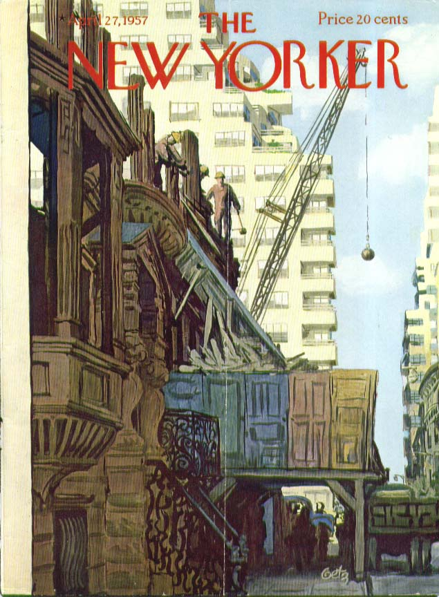 Image for New Yorker cover Getz wrecking ball townhouse 4/27 1957