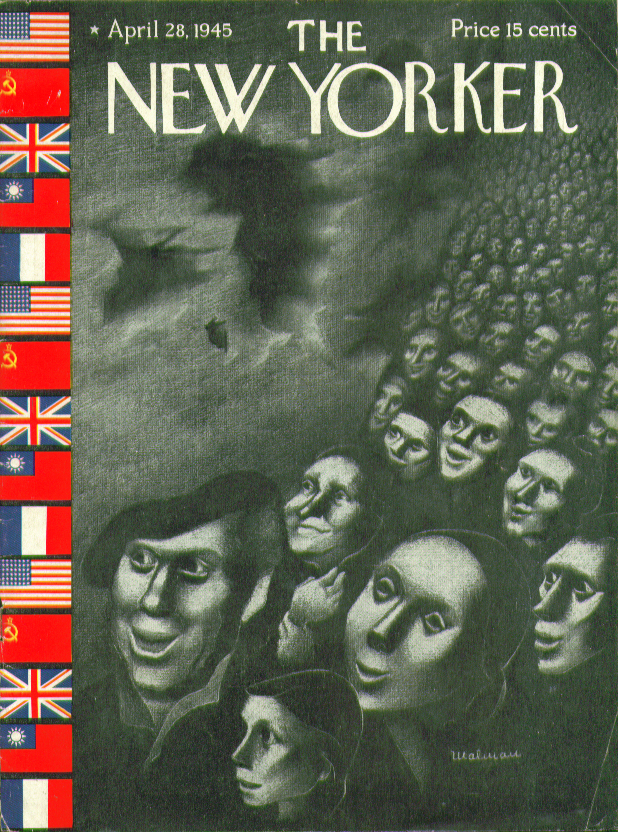 Image for New Yorker cover Malman Allies flags refugees 4/28 1945