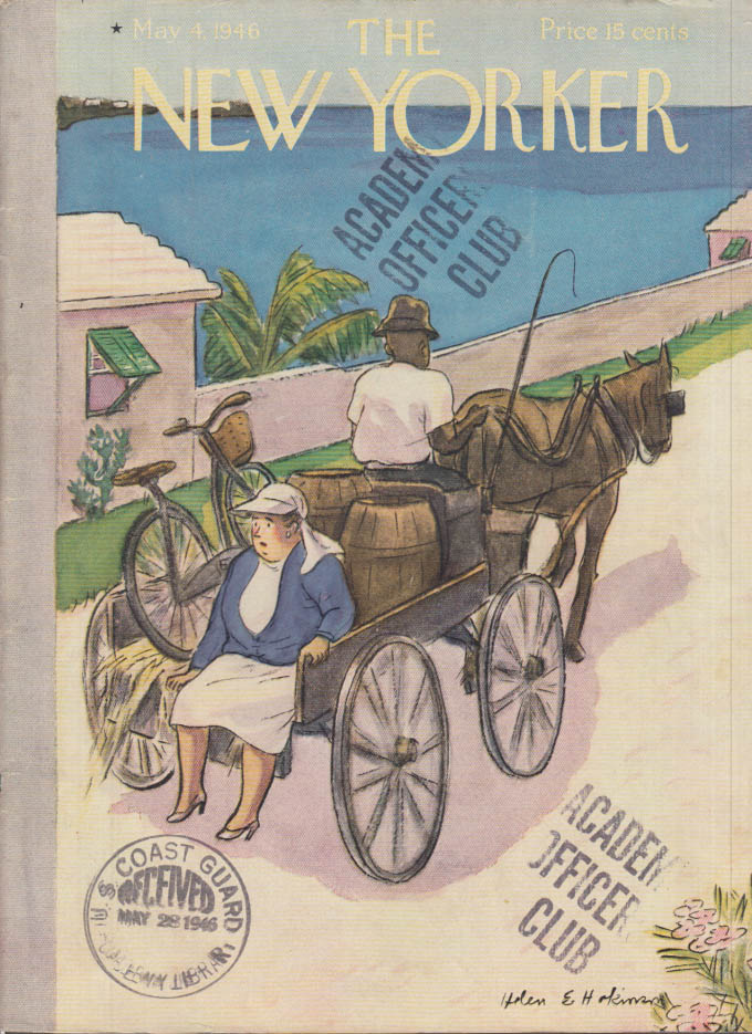 Image for New Yorker cover Hokinson matron on back of Bermuda horsecart 5/4 1946