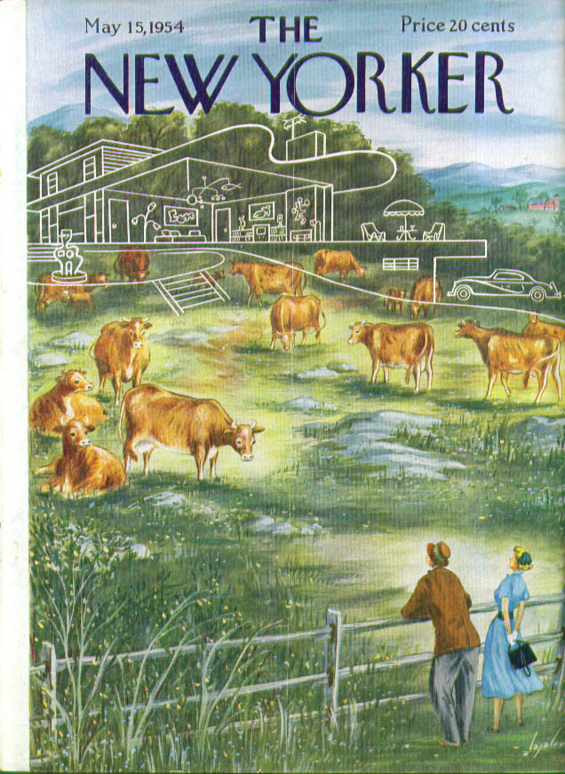 Image for New Yorker cover Alajalov couple envisions modern home in cow pasture 5/15 1954
