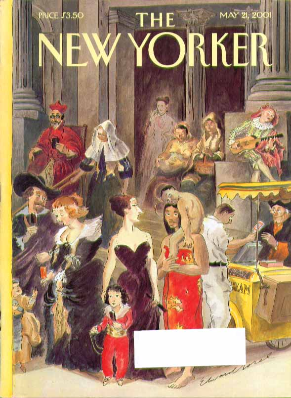 Image for New Yorker cover Edward Sorel figures from art take break at museum 5/21 2001