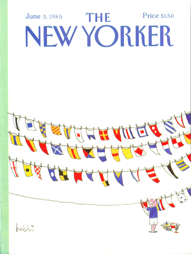 Image for New Yorker cover Levin yachtsman dries flags 6/3 1985