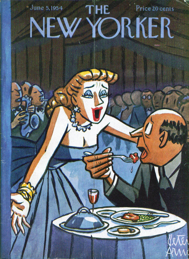 Image for New Yorker cover Arno interruption at dinner 6/5 1954