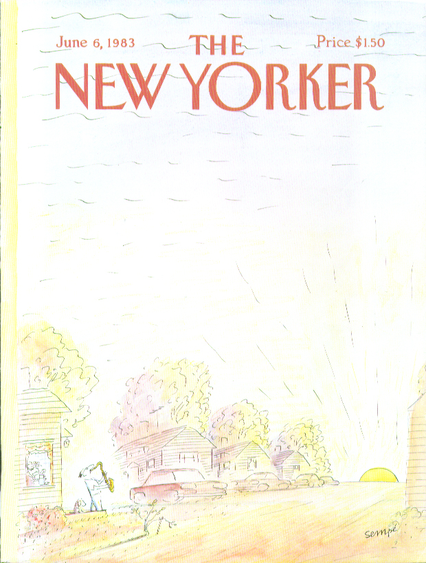 Image for New Yorker cover Sempe saxophonist at sunrise 6/6 1983