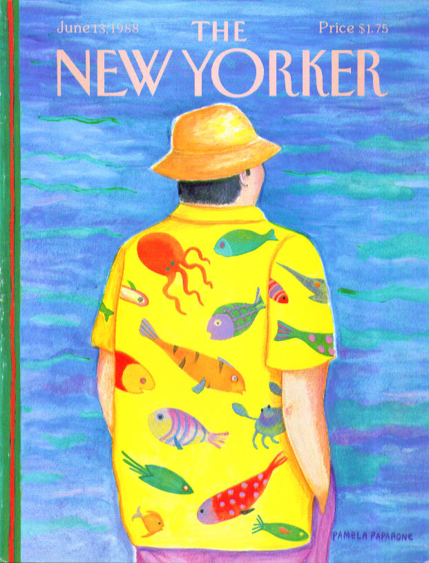 Image for New Yorker cover Paparone fish motif shirt 6/13 1988