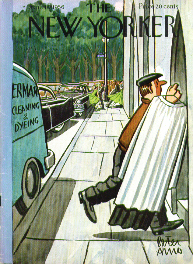 Image for New Yorker cover Arno late-arriving minister's cassock 6/16 1956