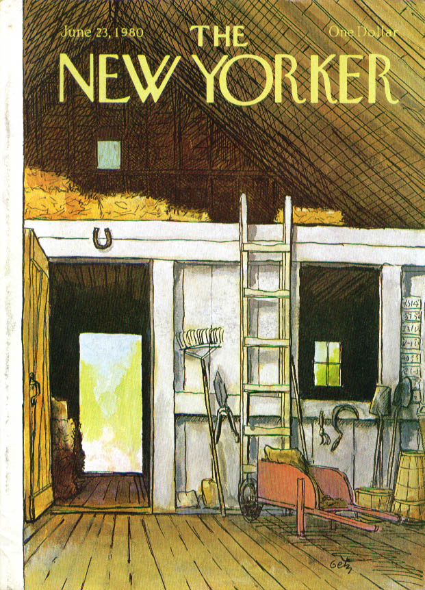 Image for New Yorker cover Getz wheelbarrow hay barn 6/23 1980