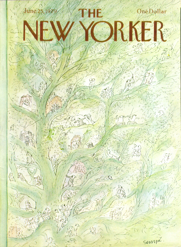 Image for New Yorker cover Sempe tiny folks in trees 6/25 1979