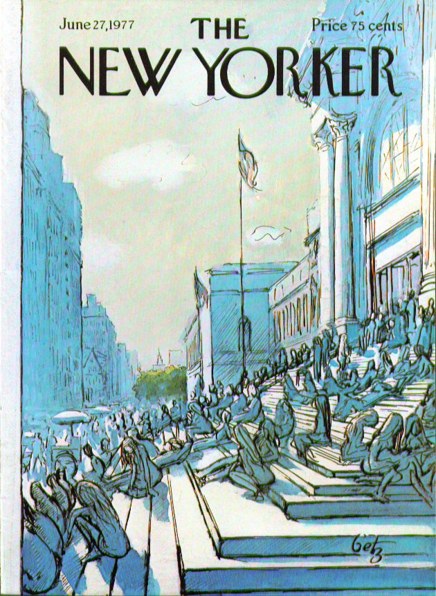 Image for New Yorker cover Getz lunch on the Met steps 6/27 1977