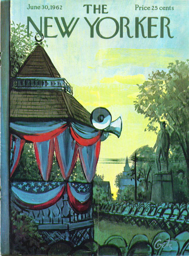 Image for New Yorker cover Getz 4th of July gazebo 6/30 1962