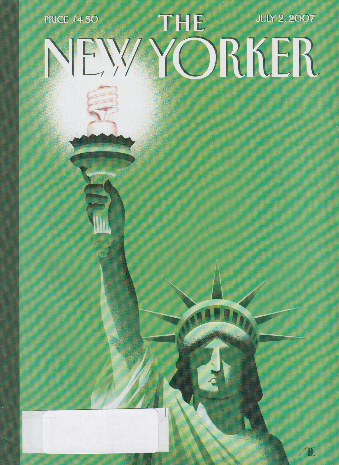 Image for New Yorker cover Enid Starkie Statue of Liberty with fluorescent bulb 7/2 2007