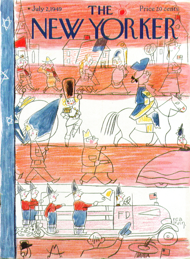 Image for New Yorker cover Irvin small town parade 7/2 1949