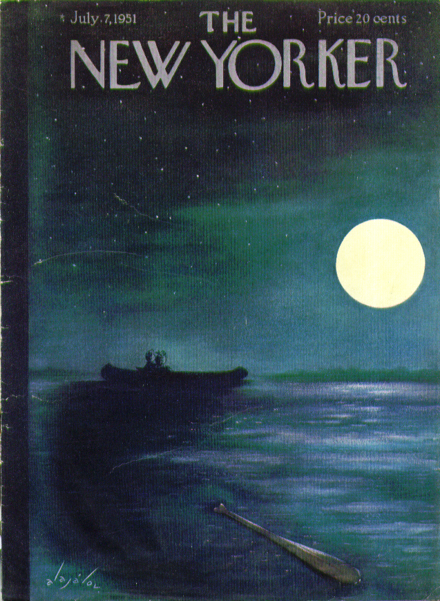 Image for New Yorker cover Alajalov couple snuggles boat 7/7 1951