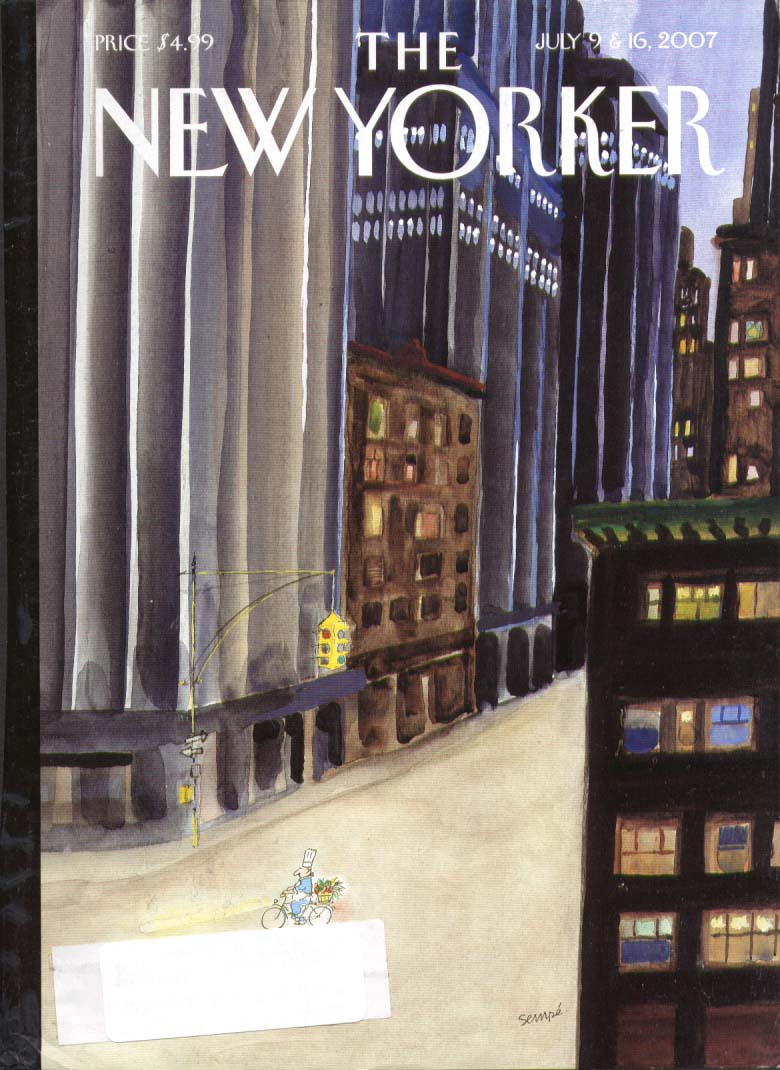 Image for New Yorker cover Sempe chef on bike w/ herbs 7/9 2007