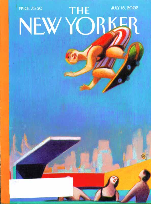 Image for New Yorker cover Lorenzo Mattotti skateboard leap off diving board 7/15 2002