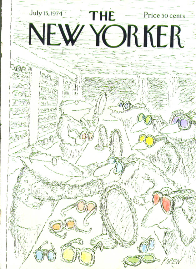 Image for New Yorker cover Koren picking out sunglasses 7/15 1974