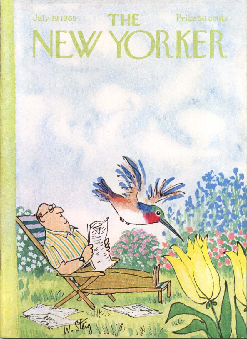 Image for New Yorker cover Steig hummingbird flowers 7/19 1969