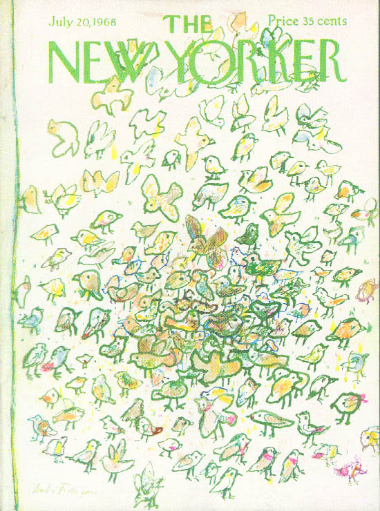 Image for New Yorker cover Francois flock birds eating 7/20 1968