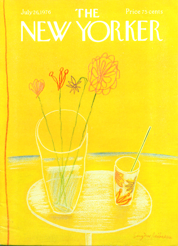 Image for New Yorker cover Mihaesco flowers drink beach 7/26 1976