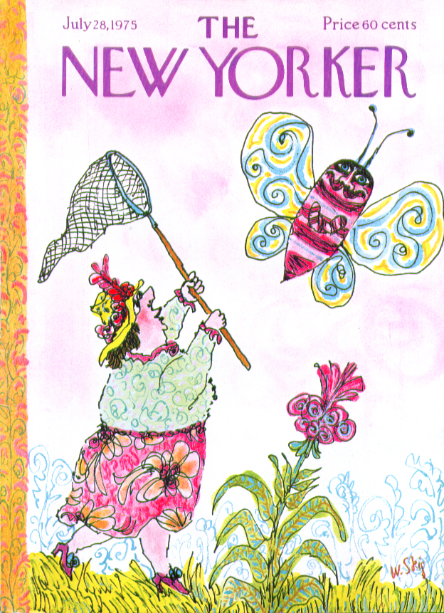 Image for New Yorker cover Steig woman chases butterfly 7/28 1975