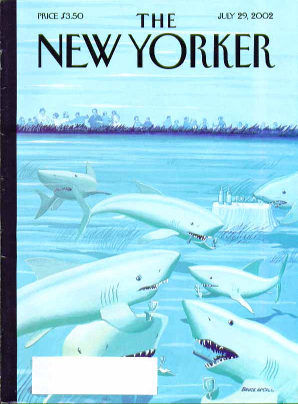 Image for New Yorker cover Bruce McCall shark cocktail hour before bather feast 7/29 2002