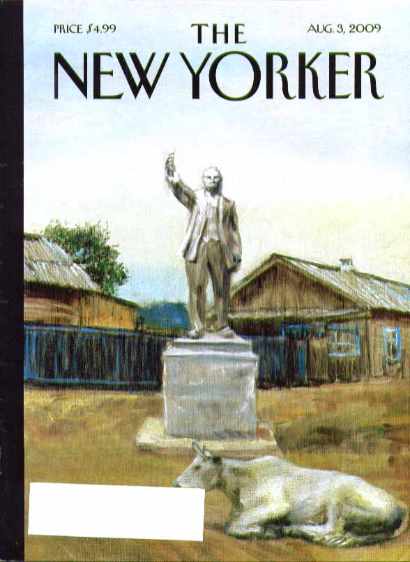 Image for New Yorker cover Dictator statue in farmyard with 1 cow 8/3 2009