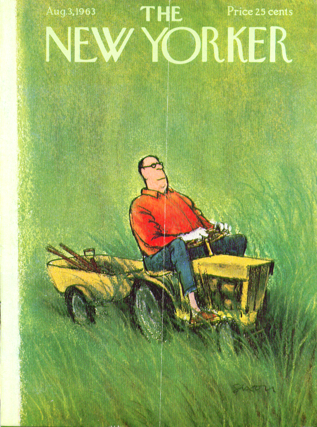 Image for New Yorker cover Saxon man on lawn tractor 8/3 1963