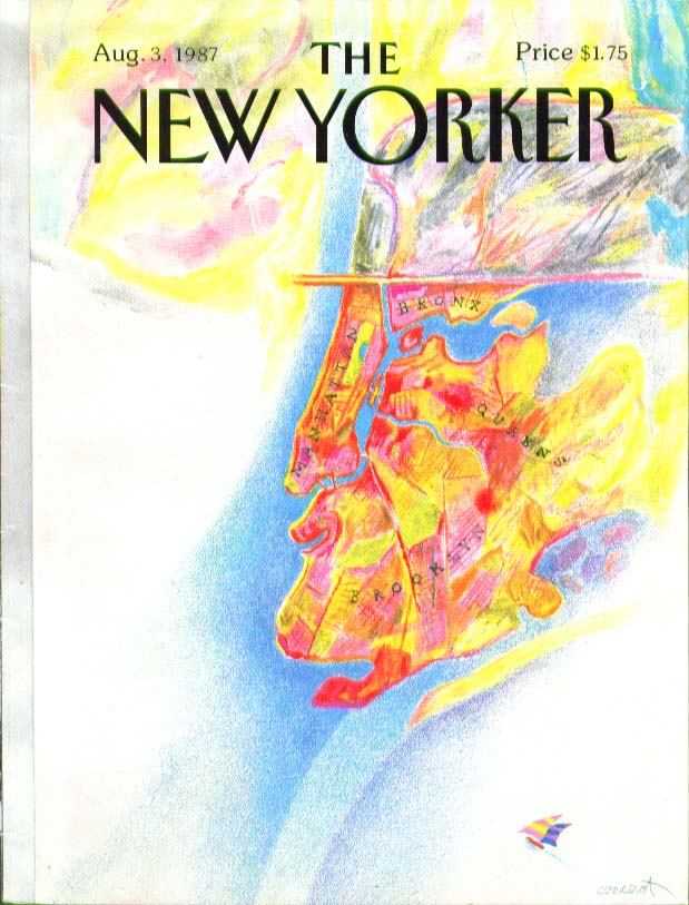 Image for New Yorker cover Czeczot Boroughs make derby-hatted profile 8/3 1987